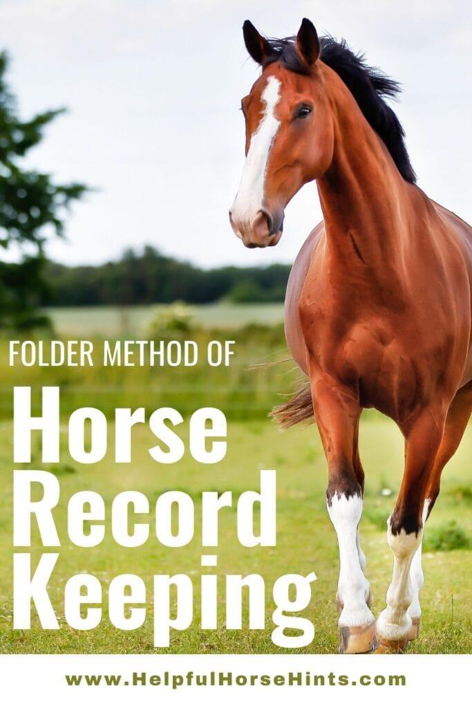 Pinterest Pin - Folder Method of Horse Record Keeping
