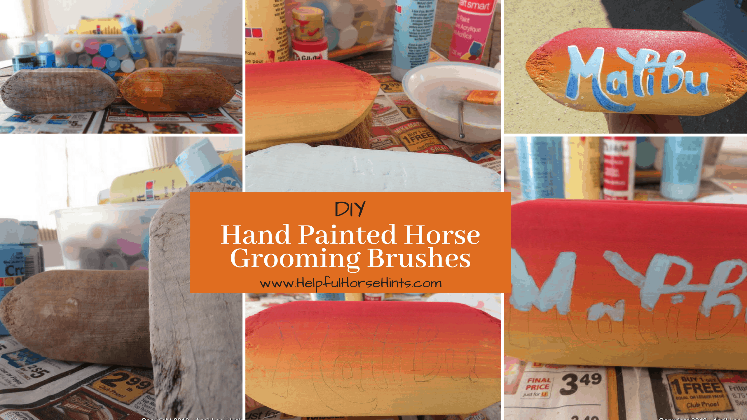 DIY Hand Painted Horse Grooming Brushes