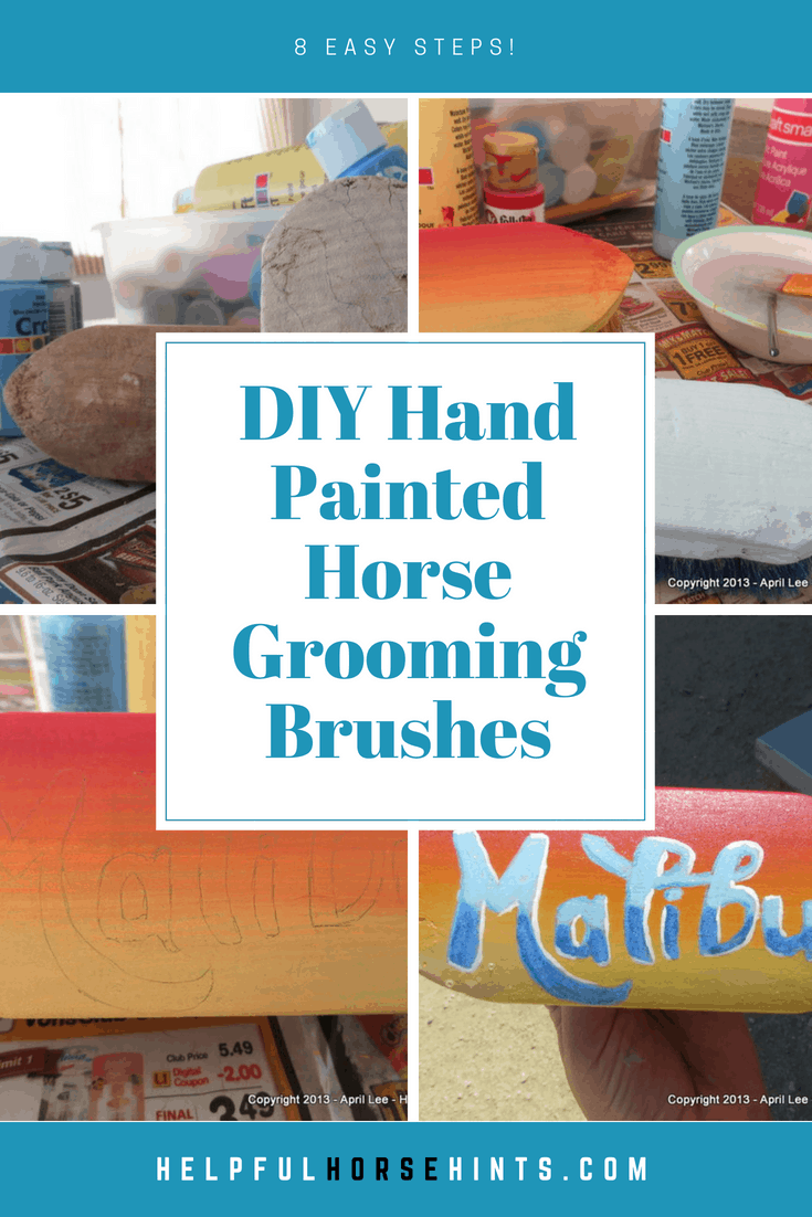 Pinterest pin - Hand Painted Horse Grooming Brushes-DIY