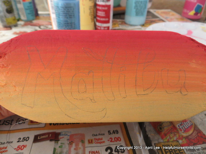 outlining a name on diy custom horse grooming brushes