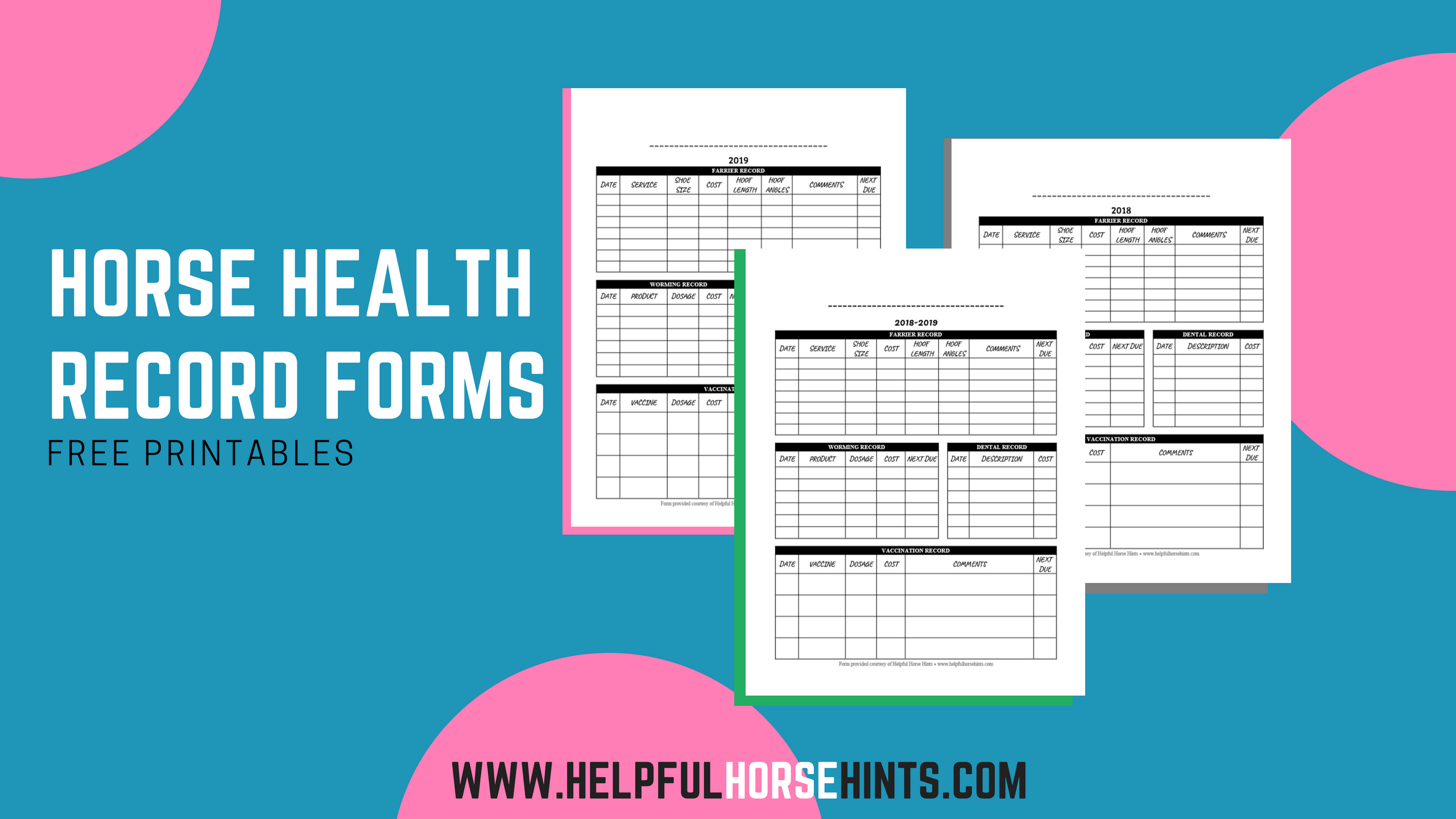 Horse Health Record Forms - Free Printables