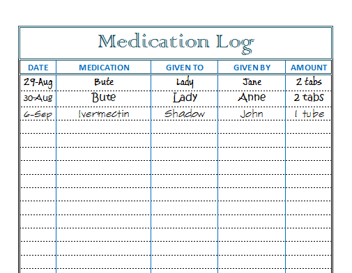 medication signing sheet template - horse health helpful horse hints