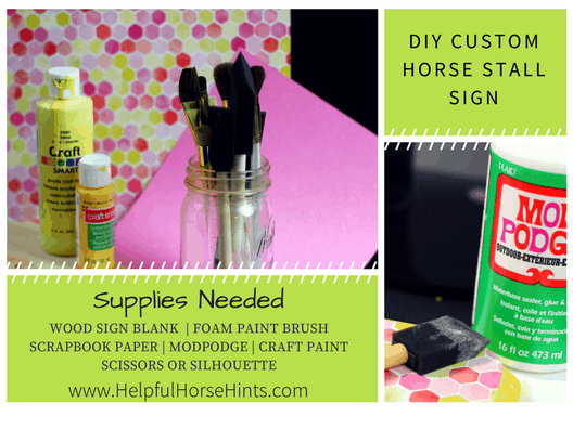 Custom Horse Stall Sign | Supplies Needed