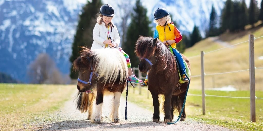 Children riding miniature horses.