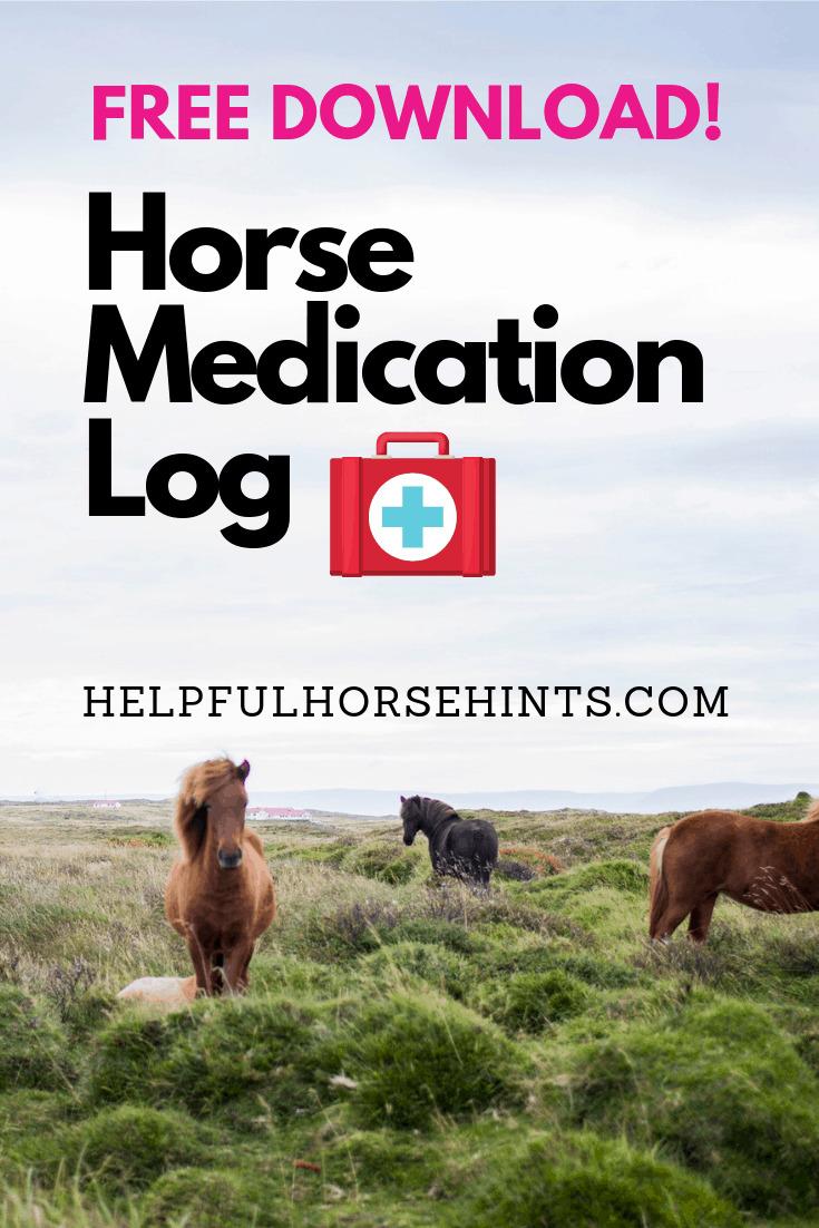 free horse form medication log