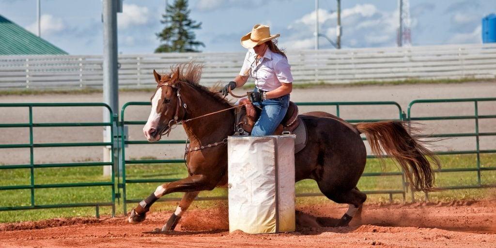 horse and rider running around a barrel
