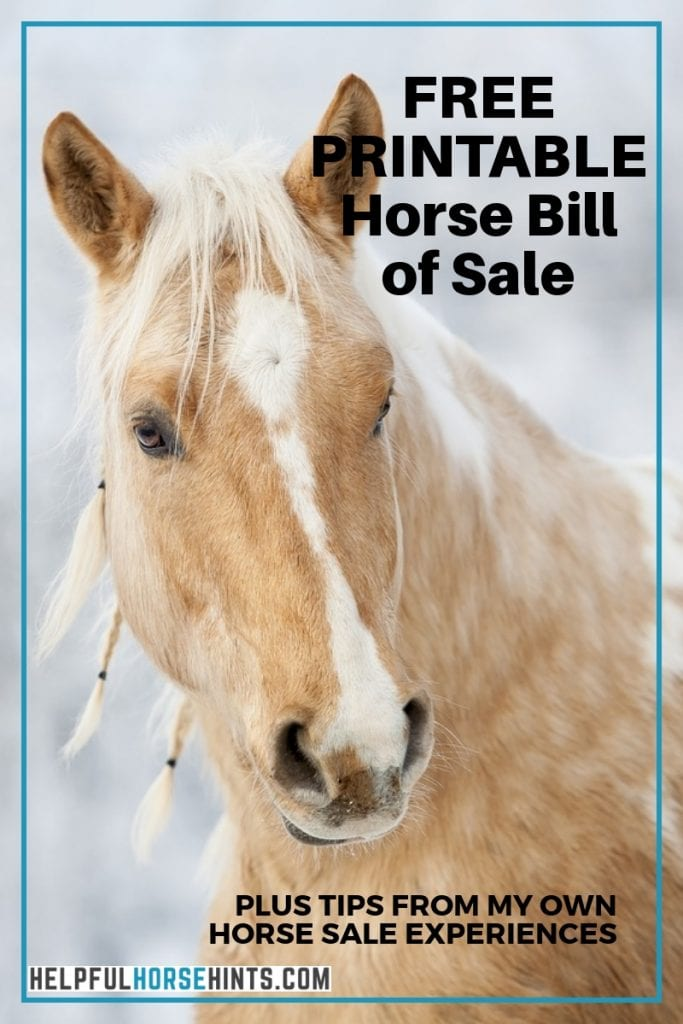 free printable horse sale form