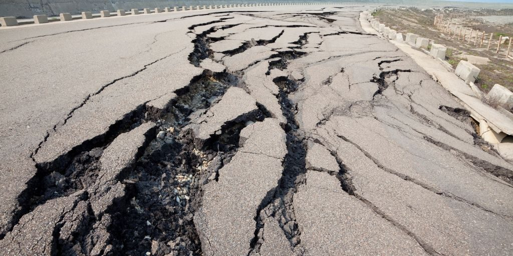 cracked road from an earthquake
