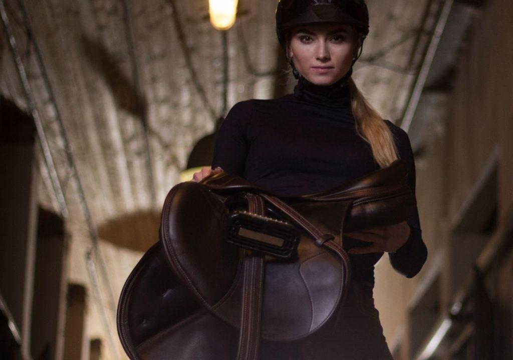 english rider with saddle