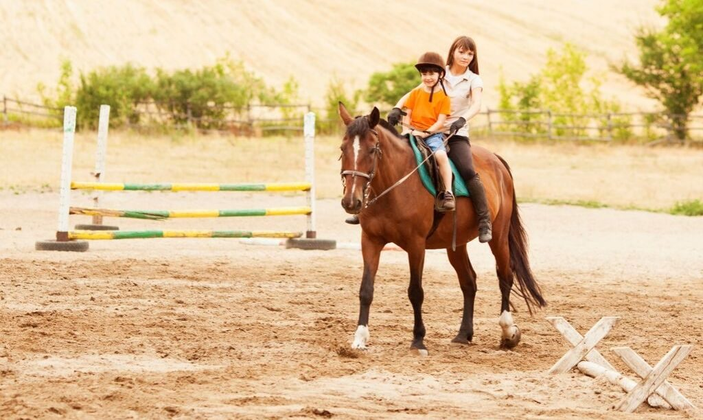 adult riding double on gelding with child