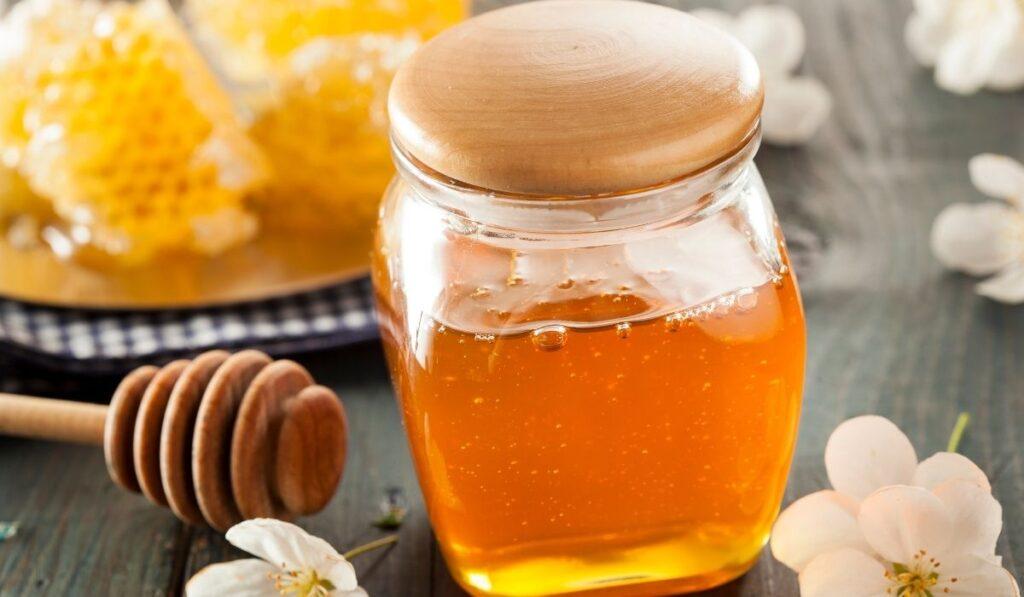 honey in a closed glass jar
