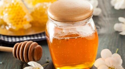 honey in a closed glass jar