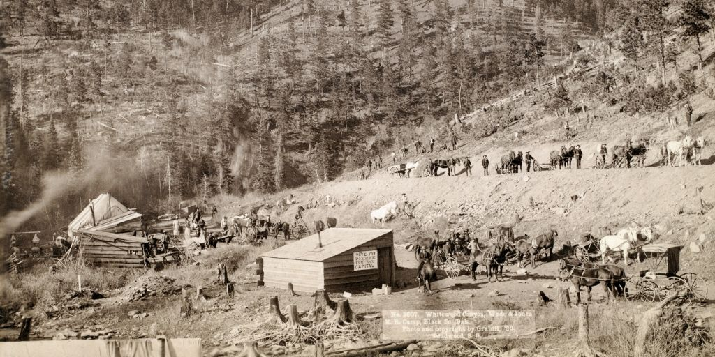 Whitewood Canyon, Wade and Jones R.R. Camp, Black Hills, South Dakota. photo by John C. Grabill, 1890