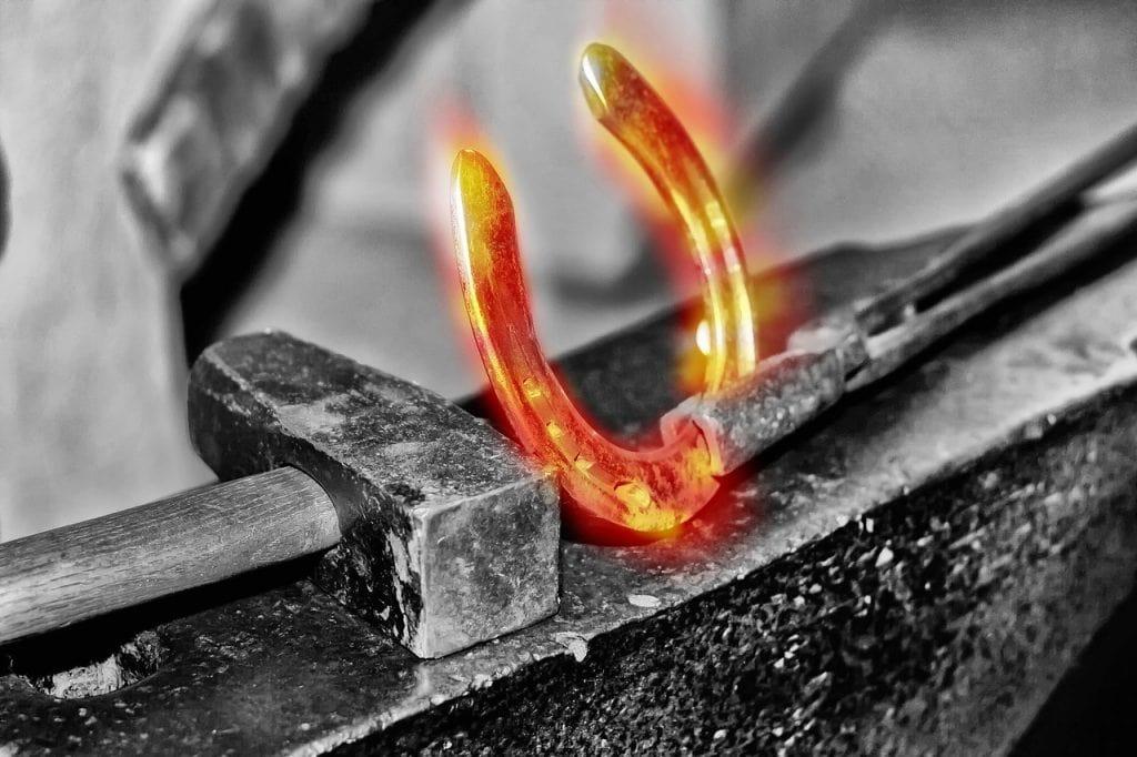 forging a horseshoe