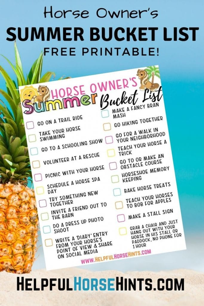 bucket list printable for horse activity ideas