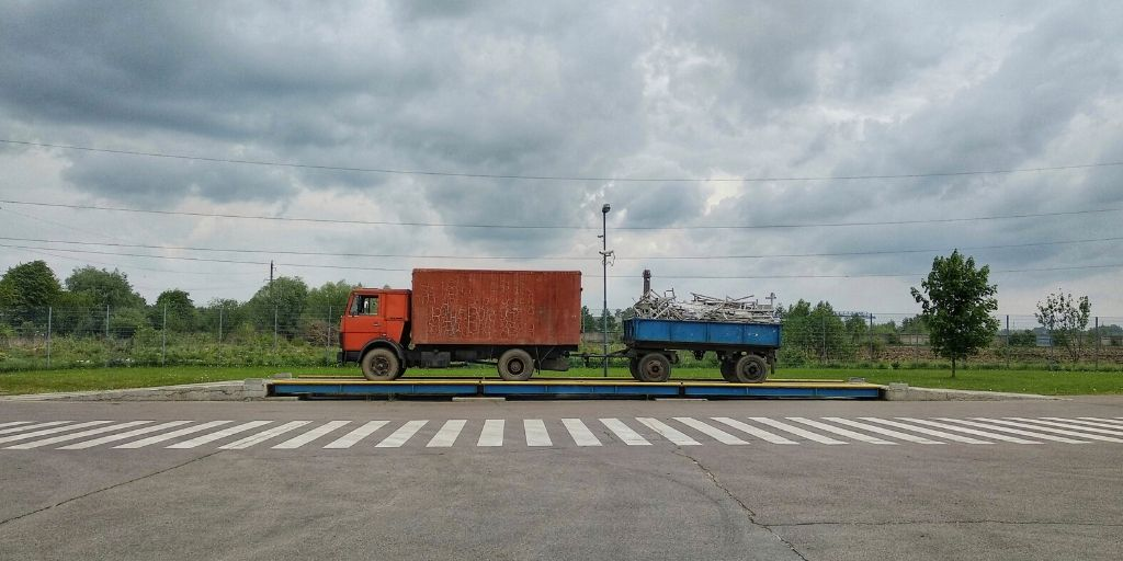 truck on an industrial scale